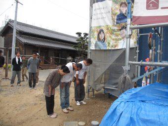 幸田町の注文住宅で上棟式がスタート