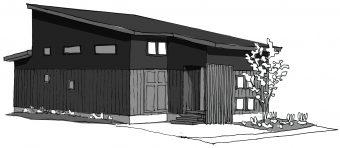 幸田町で建設途中の共感住宅レイアウトの家