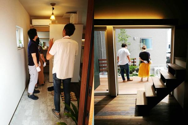 8月26日~30日にかけて開催した岡崎市での注文住宅・新築の見学会、玄関の照明を見つめるお客様
