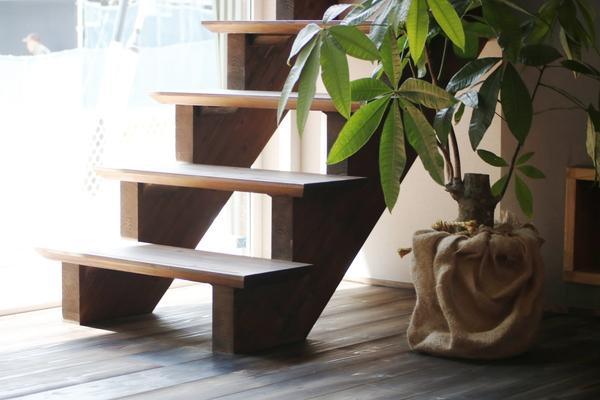 共感住宅レイアウトが岡崎市で手掛けた注文住宅、リビング階段と観葉植物の鉢植え
