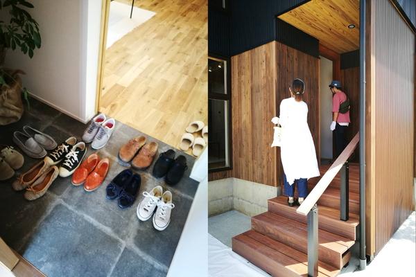 幸田町の注文住宅、完成見学会の様子。自然素材のウッドデッキ