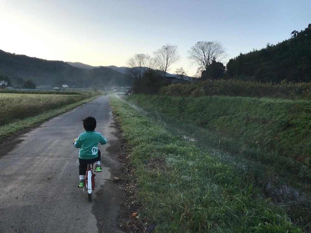 朝の土手を自転車ではしる息子