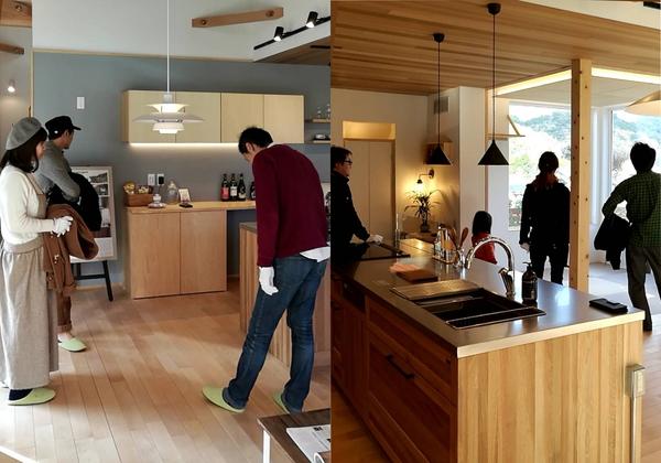岡崎市の注文住宅の新築見学会の様子。キッチンにはFUTAGAMI、ダイニングにはポールヘニングセンのペンダントランプがあります。