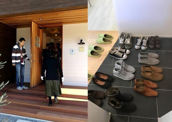 岡崎市の新築オープンハウスの様子、新築注文住宅の玄関に見学者が入るところと、見学者の靴